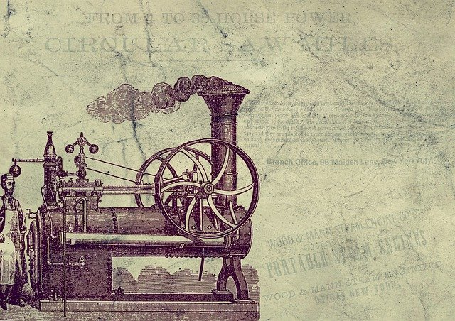 Vintage drawing of a steam engine.